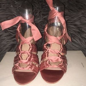 Satin Muted Pink Heels